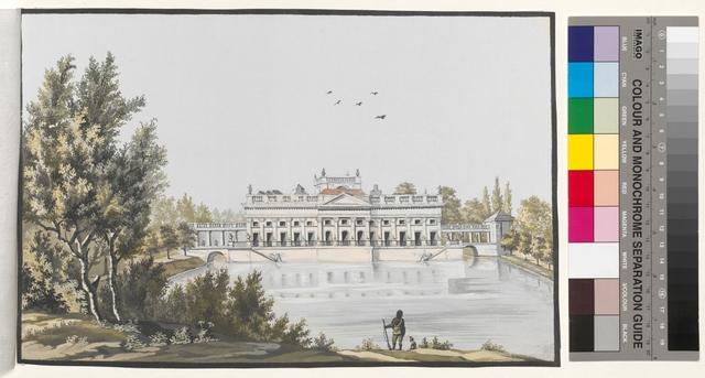 Ansicht des König. Schlosses; und ein Theil des Thiergarten zu Lazieneck bey Warschau
