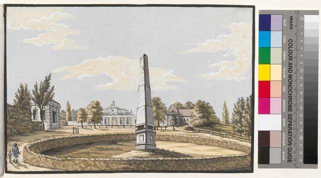 Ansicht des Obelisk und das Schloss in der Entfernung im Garten zu Jablona