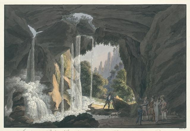 Ansicht des Rathener Grundes vom Amselloch aus, in der Sächs- Schweitz. Vue de la valée de Raden prise de la caverne dite Amselloch dans la Suisse Saxone