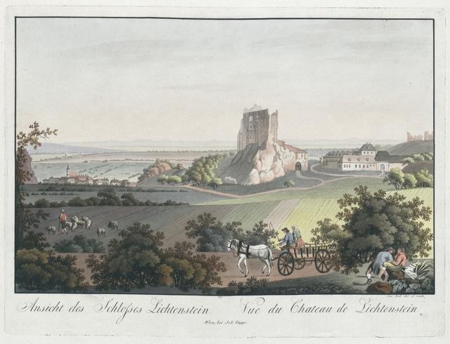 Ansicht des Schlosses Lichtenstein. Vue du Chateau de Lichtenstein