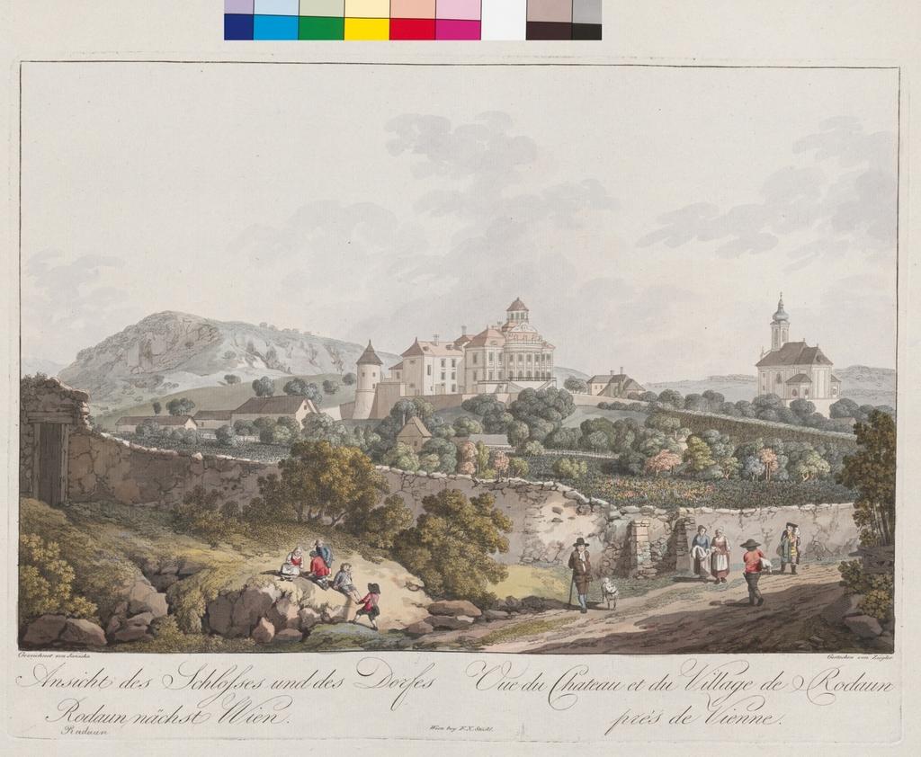 Ansicht des Schlosses und des Dorfes Rodaun nächst Wien. Vue du Chateau et du Village de Rodaun près de Vienne