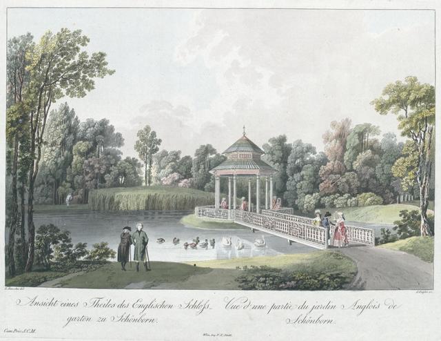 Ansicht eines Theiles des englischen Schlossgarten zu Schönborn. Vue d'une partie du jardin Anglois de Schönborn