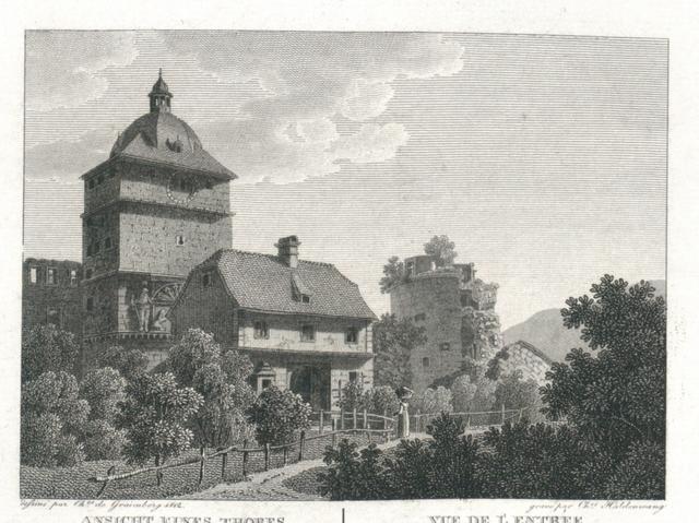 Ansicht eines Thores vom Heidelberger Schlosse von der Gartenseite. Vue de l'Entrée du château de Heidelberg du coté du jardin