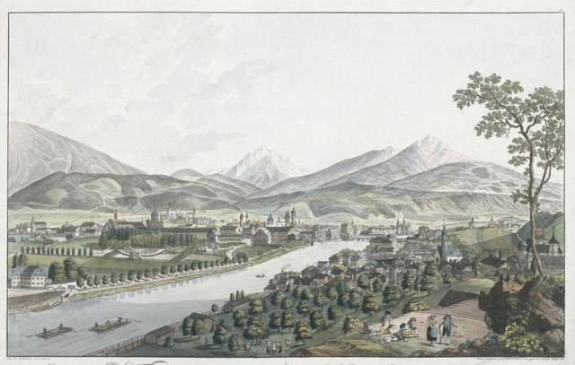 Ansicht von Innspruck der Hauptstadt in Tyrol. Vue d'Innspruck ville Capitale en Tyrol