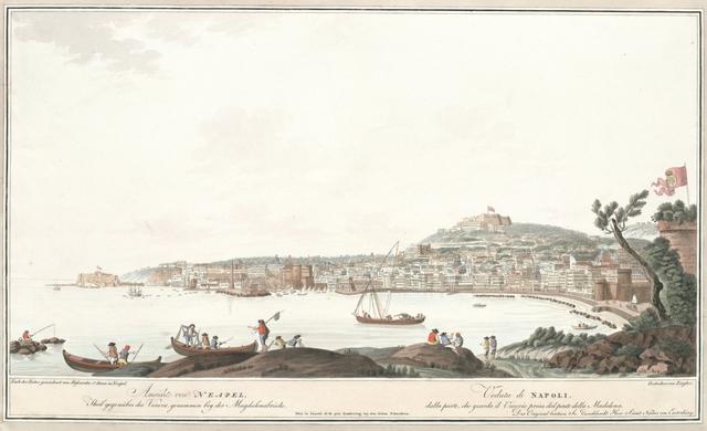 Ansicht von Neapel, Theil gegenüber des Vesuvs, genommen bey der Magdalenabrücke. Veduta di Napoli dalla parte, che guarda il Vesuvio presa dal ponte della Maddalena
