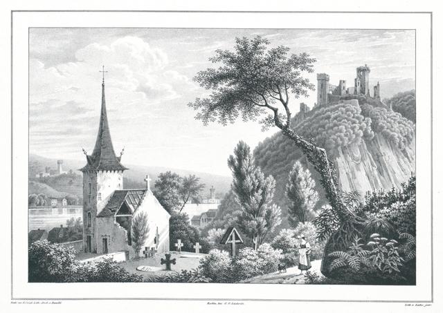 Ansicht von Stolzenfels, Lahneck und Oberlahnstein. Vom Dorfe Capellen aus aufgenommen