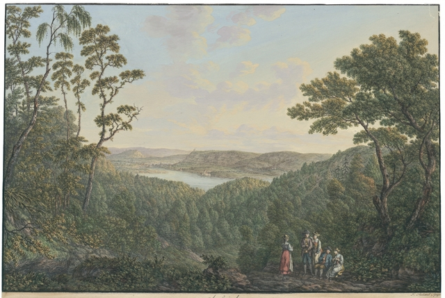Aussicht von der Höhe bey Gündelhart im Thurgäu auf die Abtey Öhningen, das Bergschloss Hohenklingen, und die Statt Stein am Rhein