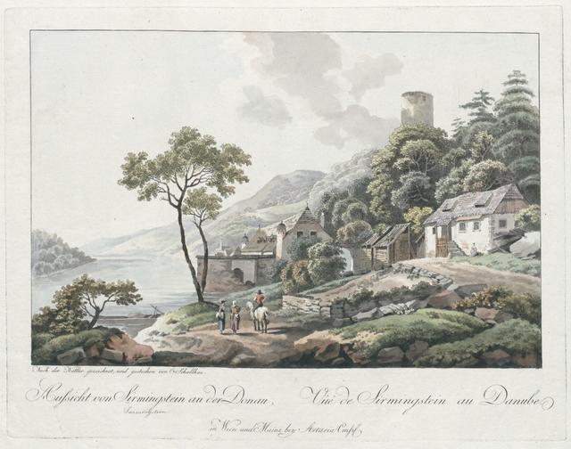 Aussicht von Sirmingstein(!) an der Donau, Vûe de Sirmingstein au Danube