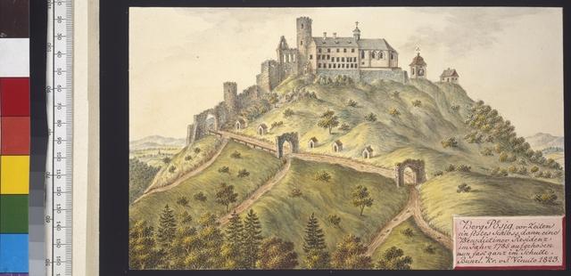 Berg Poesig, vor Zeiten ein festes Schloss, dann eine Benedictiner Residenz, im Jahre 1785 aufgehoben, nun fast ganz im Schutte, Bunzl. Kr. v. J. Venuto 1823