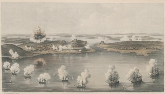 Bomarsund während dem Bombardement am 15. Aug. 1854