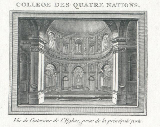 Collège des Quatre Nations . Vue de l'Interieur de l'Egilse, prise de la principale porte