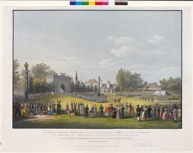 Darstellung der Militairischen Festlichkeit, welche aus Veranlassung der fünfzigjährigen Jubelfeyer Sr. k. Hoheit des Erzherzogs Carl, als Inhaber höchst Ihres Infanterie Regiments Nr. 3, am 16ten Sept. 1830, zu Krems statt gefunden hat.
