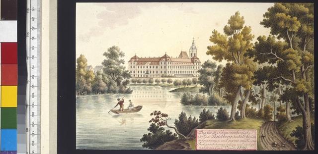 Das fürstl. Schwarzenbergische Schloss Postelberg Saatzer Kreises aufgenommen und geaezt von Fürstin Pauline v. Schwarzenberg und nachgemahlt von Joan. Venuto 1809