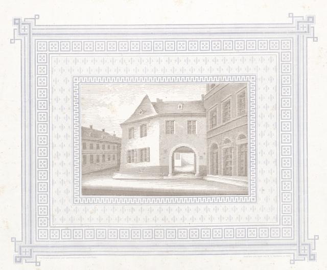 Das Gutenberg-Haus in Mainz. In diesem Hause errichtete Johann Gutenberg mit Fust im Jahre 1450 eine gemeinschaftliche Druckerei, welche später von Gutenberg allein betrieben wurde