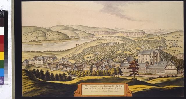 Das herzogl. Zweybrückische Schloss Mikowitz im Rakonitzer Kreise. Gezeichnet vom Joann Venuto 1803