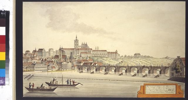 Das koenigl. Schloss, die Metropolitan-Kirche und ein Theil der Kleinseite der koenigl. Residenzstadt Prag nachgemahlt von Joann Venuto 1817
