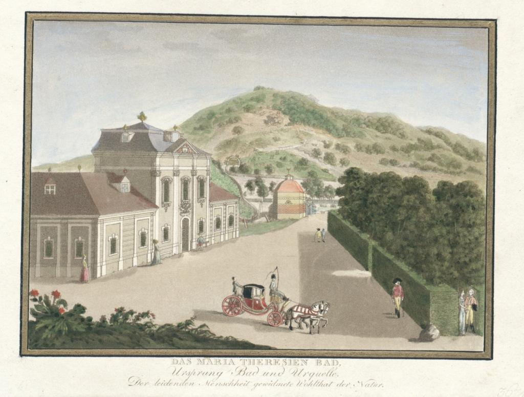 Das Maria Theresien Bad, Ursprung Bad und Urquelle. Der leidenden Menschheit gewidmete Wohltat der Natur