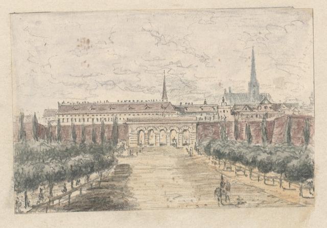 Das neue äussere Burgthor, entworfen v. Peter v. Novile 1819, erbaut 1821; Grundsteinlegung 22. Sept. 1822; eröffnet zur Erinnerung an die Schlacht bei Leipzig 1822, erweitert 1858