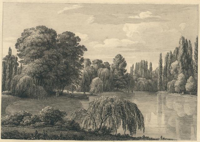 [ Der Schlossteich, links ein Kahn, am Ufer ein Paar.] Fingierter Titel