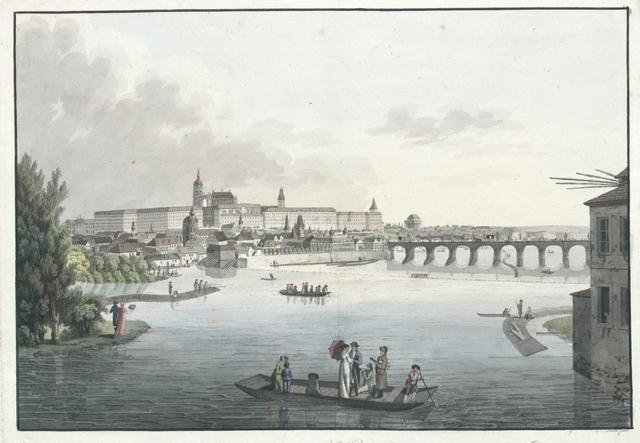 Die Hauptstadt Prag sammt den Königl. Schlosse von der Alt-Stadt aus, anzusehen.Vue de la ville de Prague capitale de la Bohême, du côté du château royal.