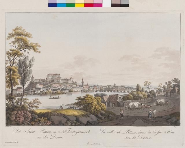Die Stadt Pettau in Niedersteyermark an der Drau. La ville de Pettau, dans la basse Stirie sur la Drave