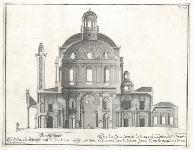 Durchschnitt der St. Caroli Kirchen von einwendig, wie solche anzusehen. Profil et Elevation de la Coupe de l'Eglise de St. Charles Borromée dans le dedans depuis l'Entrée jusqu'au Choeur