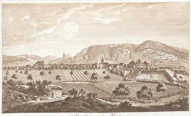 Dürkheim an der Hart. Das Hochfürstlich Leiningische Schloss und Garten nebst dem Kloster Limburg, von der Morgenseite nach der Natur aufgenomen und gestochen