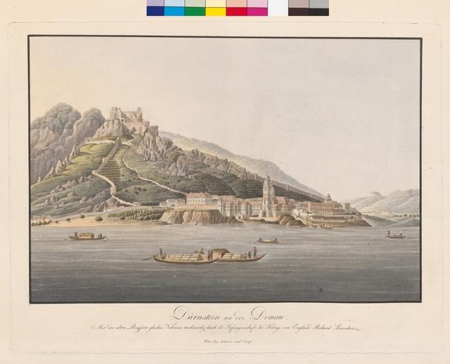 Dürnstein an der Donau, mit der alten Bergfeste gleiches Namens merkwürdig durch die Gefangenschaft des Königs von England Richard Löwenherz