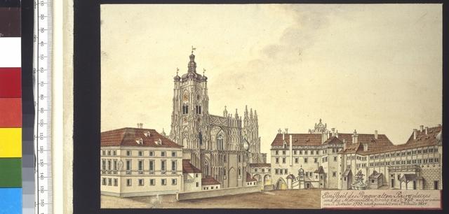 Ein Theil des Prager alten Burgplatzes und die Metropolitankirche zu St. Veit aufgenommen von J. Dietzler 1733, nachgemahlt von J. Venuto 1814