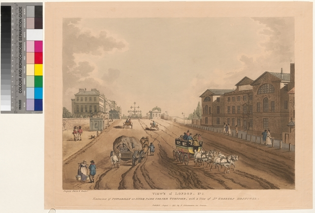 Entrance of Piccadilly or Hyde Park Corner Turnpike, with a view of St. Georges Hospital