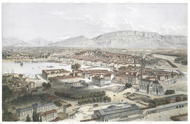 Genève, Vue prise au-dessus de la Gare du Chemin de fer