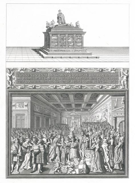 [ Grabmal Kaiser Maximilians in der Innsbrucker Hofkirche, darunter Abbildung einer Marmorrelief-Tafel des Kenotaphs] Titel fingiert