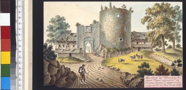 Haselburg bey Winterberg Prachiner Kreises, aufgenommen von Fürstinn Pauline v. Schwarzenberg nachgemahlt von Joan. Venuto 1809