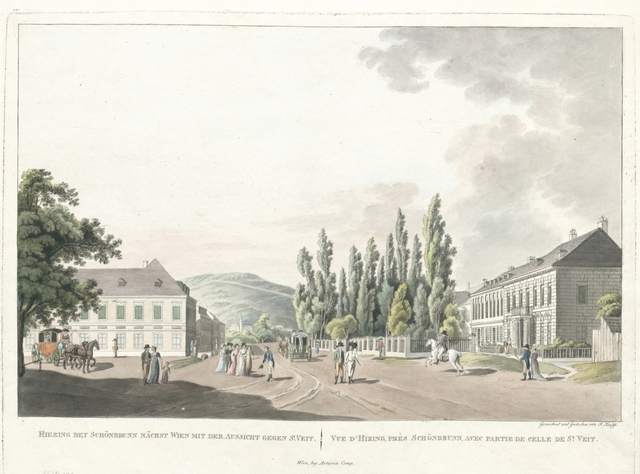 Hiezing bey Schönbrunn nächst Wien mit der Aussicht gegen St. Veit. Vue d'Hizing, près Schönbrunn, avec partie de celle de St. Veit.