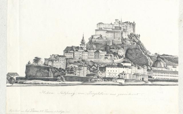 Hohen Salzburg vom Pirgelstein aus gezeichnet
