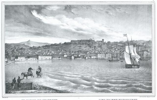 Il Porto di Treste dal Lazzeretto nuovo. Der Hafen von Triest vom neuen Lazaret aus