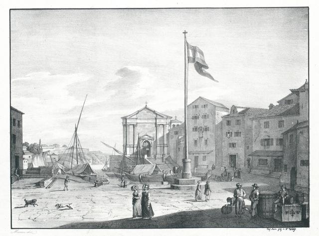 Istrien. Ein Theil der Stadt u. des Hafens von Lusin grande