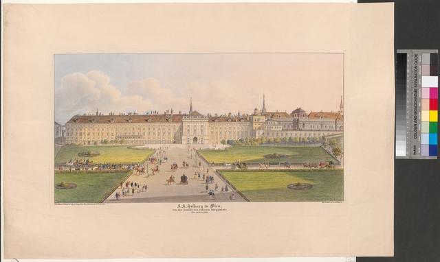 K.K. Hofburg in Wien, von der Ansicht des äusseren Burgplatzes. Wien am 18. Aug. 1851
