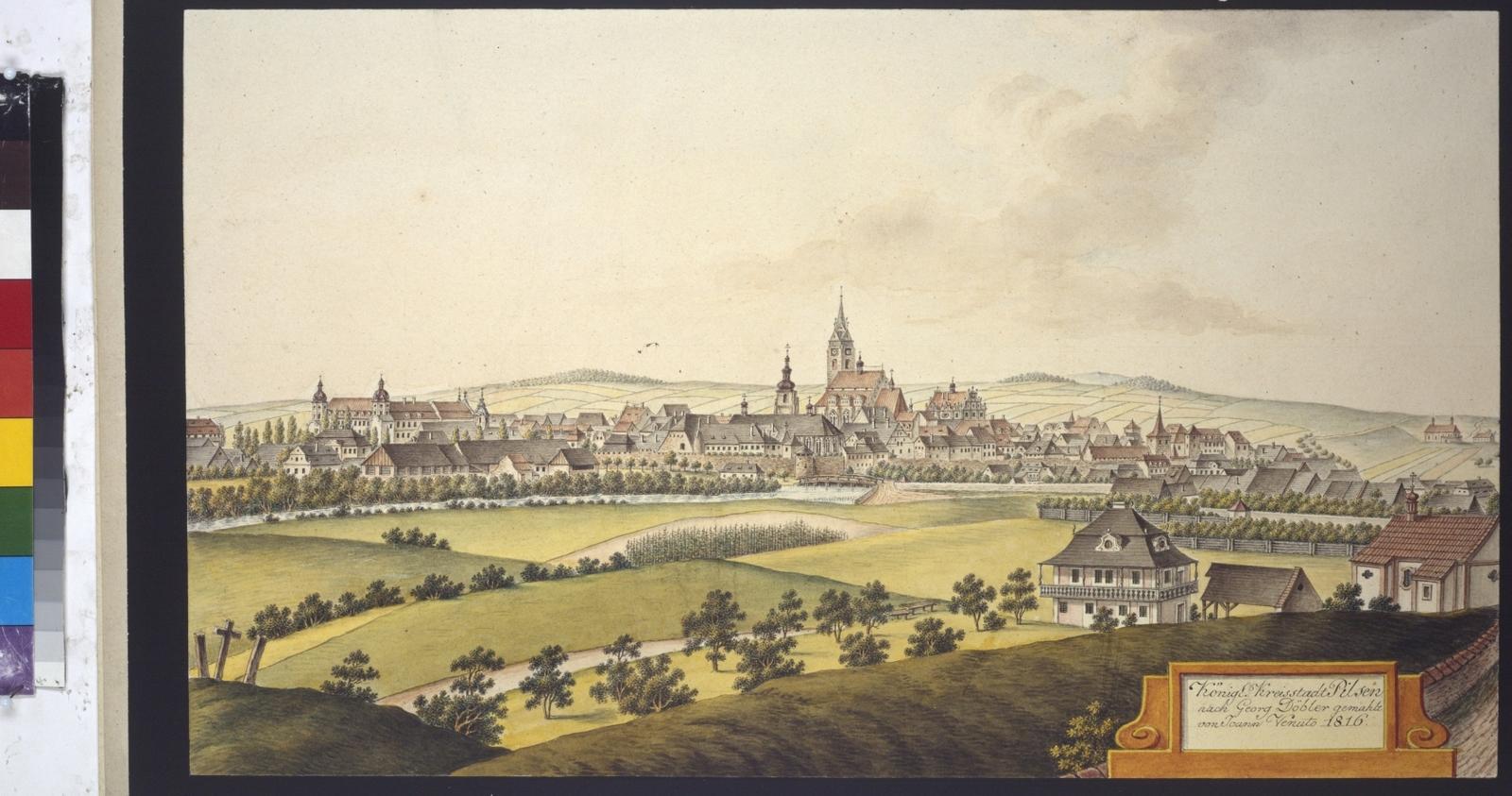 Königl. Kreisstadt Pilsen nach Georg Döbler gemahlt von Joann Venuto 1816
