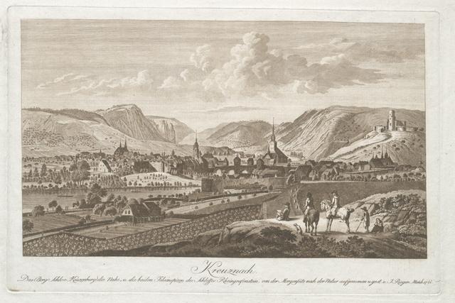 Kreuznach. Das Berg Schlos Kauzenberg, die Nahe,u. die beiden Felsenspizen des Schlosses Rheingrafenstein, von der Morgenseite nach der Natur aufgenomen....
