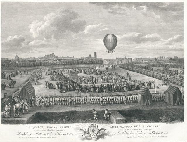 La Quatorzieme Expérience aerostatique de M. Blanchard accompagné du Chevalier Lepinard, faite à Lille en Flandre, le 26 Août 1785