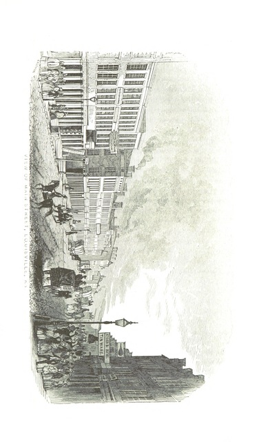"""Main Street from """"Historical Sketches of Kentucky: embracing its history, antiquities and natural curiosities, geographical, statistical and geological descriptions; with anecdotes of pioneer life ... and biographical sketches ... Illustrated by forty engravings. [Based on materials collected by H. P. Peers. With contributions by various authors. With a map.]"""""""
