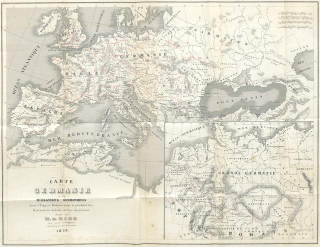 """map from """"Histoire des Germains depuis les temps les plus reculés jusqu'à Charlemagne. Pour servir d'introduction à l'histoire de l'Empire Germanique"""""""