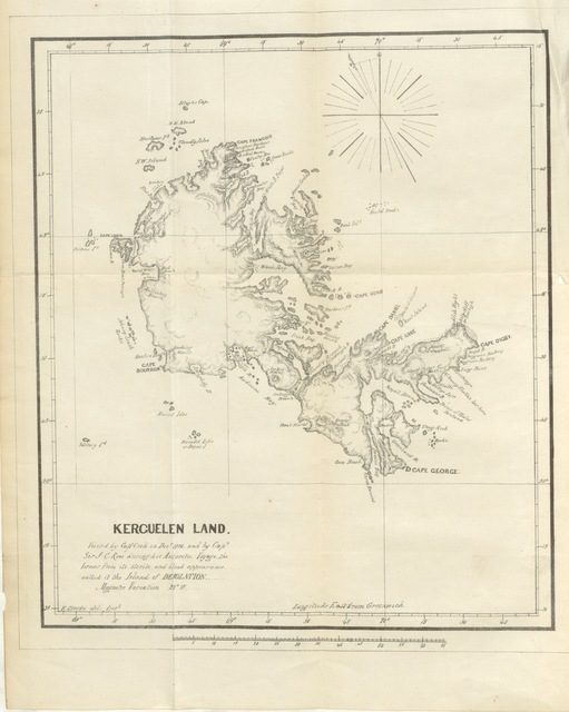 """map from """"Narrative of the Wreck of the """"Favourite"""" on the Island of Desolation: detailing the adventures, sufferings and privations of J. Nunn, an historical account of the Island, and its whale and seal fisheries. Edited by W. B. Clarke"""""""