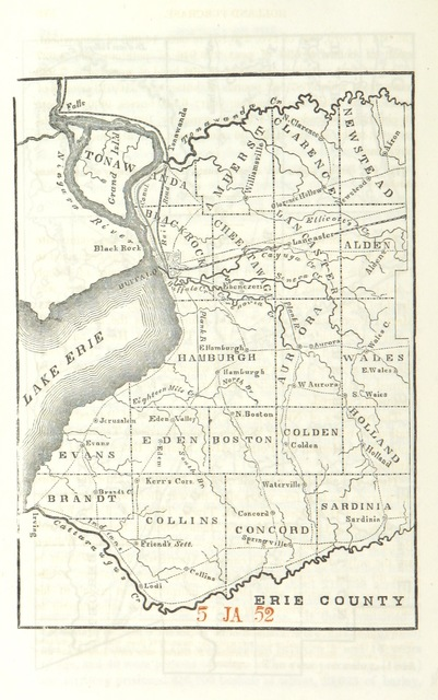 "map from ""Pioneer History of the Holland Purchase of Western New York, embracing some account of the ancient remains, a brief history of our immediate predecessors, the Confederated Iroquois ... a synopsis of colonial history; some notices of the border wars of the Revolution; and a history of Pioneer Settlement under the auspices of the Holland Company, including Reminiscences of the War of 1812, the origin, progress and completion of the Erie Canal, etc"""