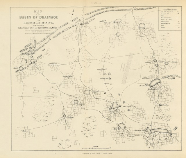"""map from """"Sketch of Mairwara; giving a brief account of the origin and habits of the Mairs, their subjugation by a British force; their civilisation and conversion into an industrious peasantry: with descriptions of various works of irrigation in Mairwara and Ajmeer, etc"""""""