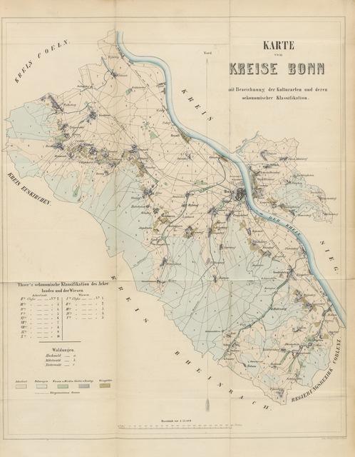 """map from """"Statistisch-landwirthschaftliche Topographie des Kreises Bonn. Eine von landwirthschaftlichen Central-Verein für Rhein-Preussen gekrönte Preis-schrift. Nebst einem Anhange, etc"""""""