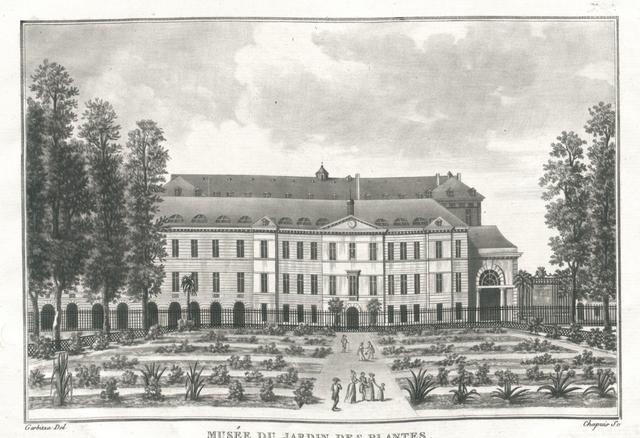 Musée du Jardin des Plantes vue du Cabinet d'Histoire naturelle prise du Jardin. On remarque derriere la Maison des Orphelins