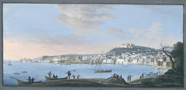 Napoli dalla parte, che guarda il Vesuvio veduta dalle tre Torri