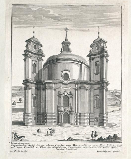 Perspectivischer Aufriss der neu erbauten Capellen gegen Mittag, welche von einem Hoch-Löblichen Stifft und Kloster Lambach zu Ehren der Allerheiligsten Dreyfaltigkeit erbaut worden von Johann Michael Brunner Baumeister.